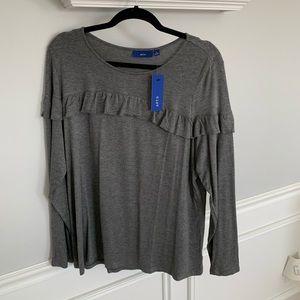 NWT: Apt 9 Gray Long Sleeve Top w/ ruffle. size XL